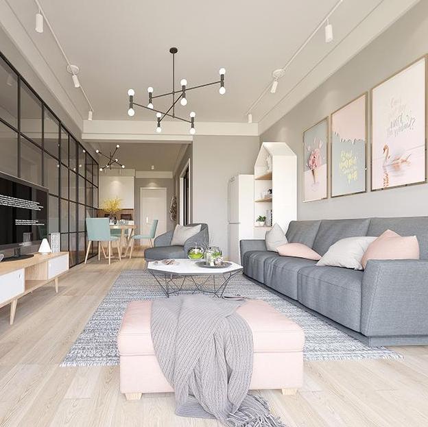 二居室小户型房子客厅装修设计效果图美式风格家装纯设计师公司